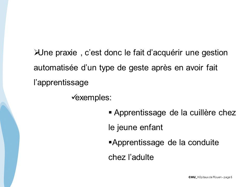Une praxie , c'est donc le fait d'acquérir une gestion automatisée d'un type de geste après en avoir fait l'apprentissage