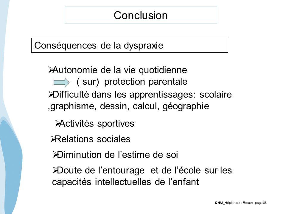 Conclusion Conséquences de la dyspraxie