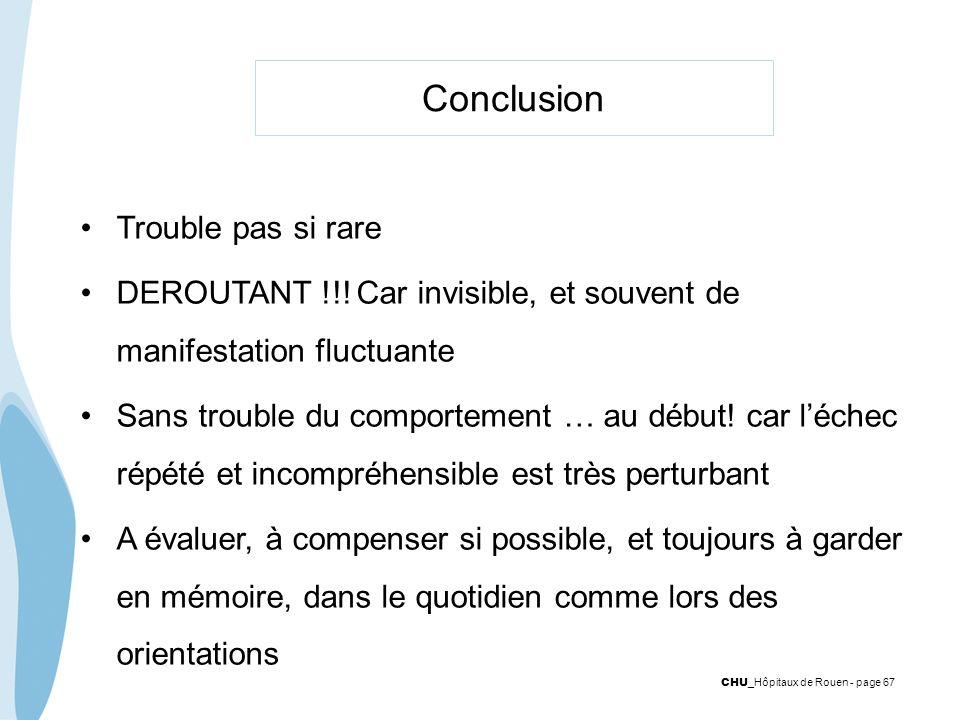 Conclusion Trouble pas si rare