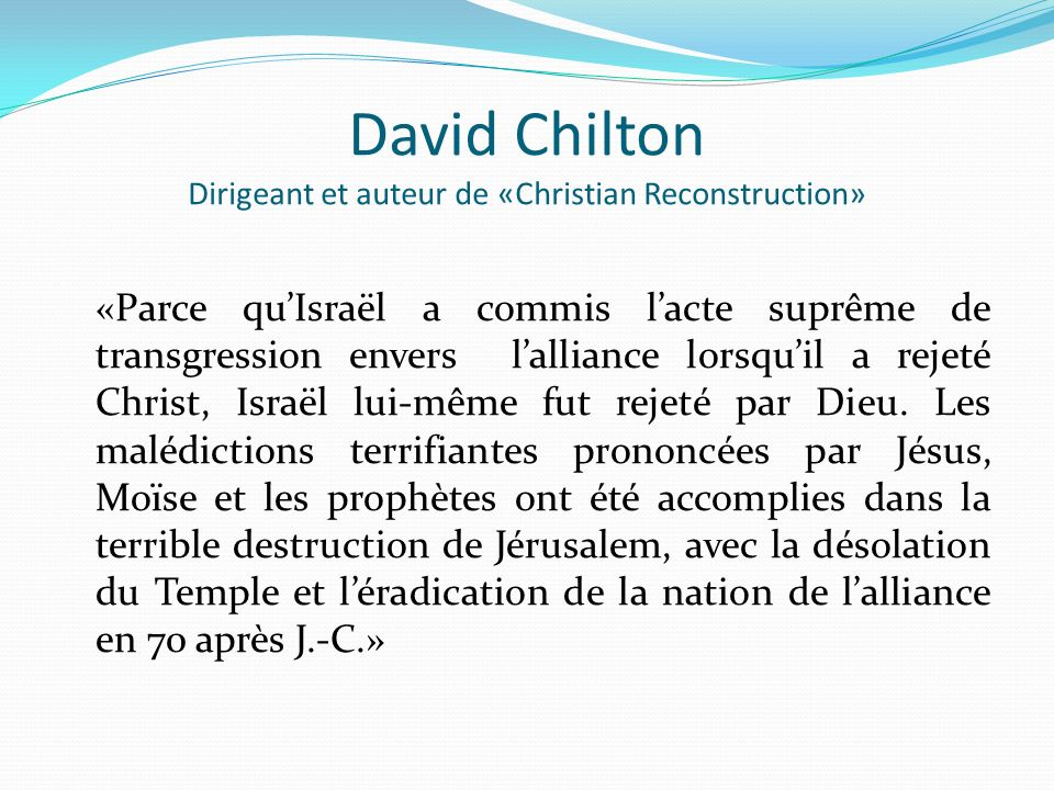 David Chilton Dirigeant et auteur de «Christian Reconstruction»
