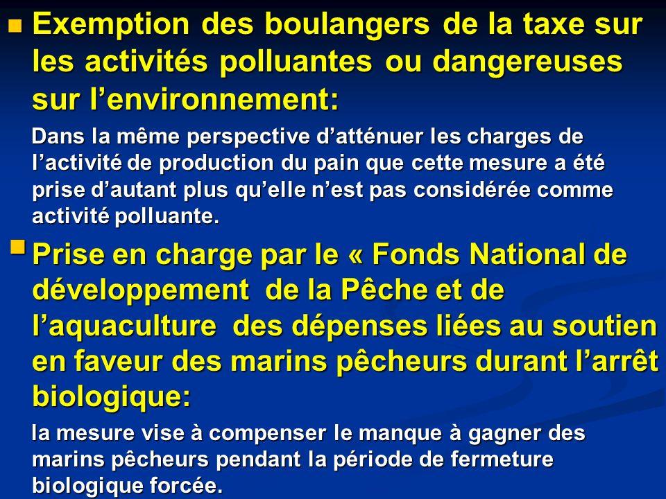 Exemption des boulangers de la taxe sur les activités polluantes ou dangereuses sur l'environnement: