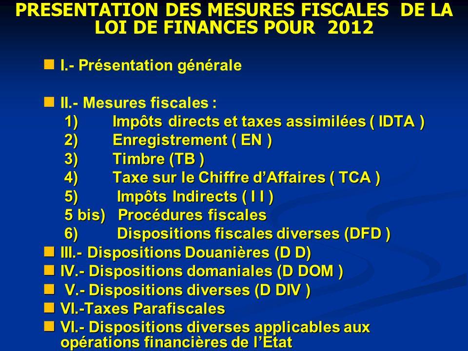 PRESENTATION DES MESURES FISCALES DE LA LOI DE FINANCES POUR 2012