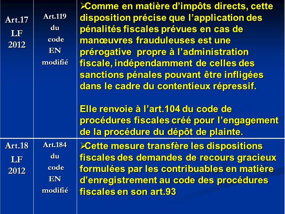 Art.17 LF 2012. Art.119. du. code. EN. modifié.