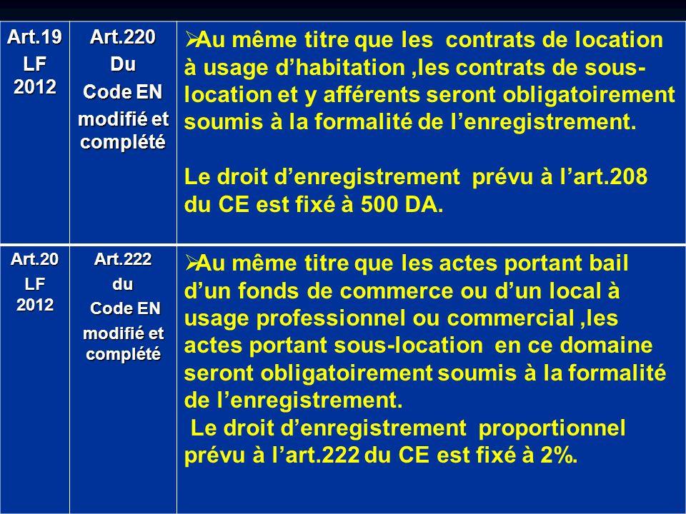 Le droit d'enregistrement prévu à l'art.208 du CE est fixé à 500 DA.