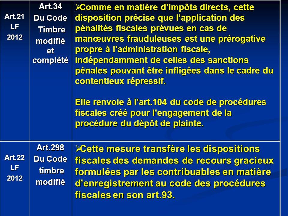 Art.21 LF. 2012. Art.34. Du Code. Timbre. modifié et complété.