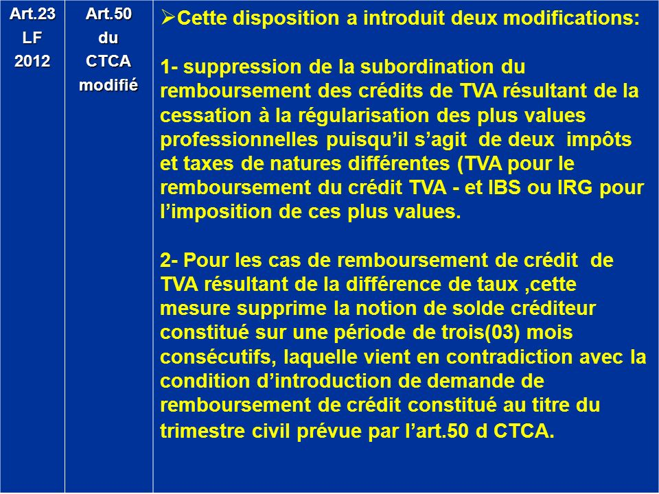 Cette disposition a introduit deux modifications: