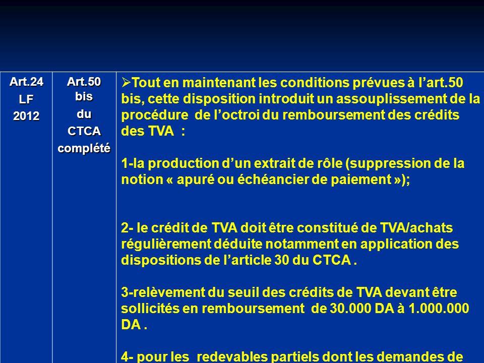 Art.24 LF. 2012. Art.50 bis. du. CTCA. complété.