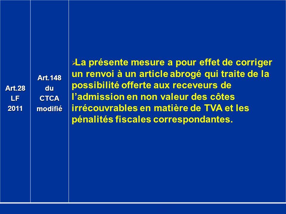 Art.28 LF. 2011. Art.148. du. CTCA. modifié.