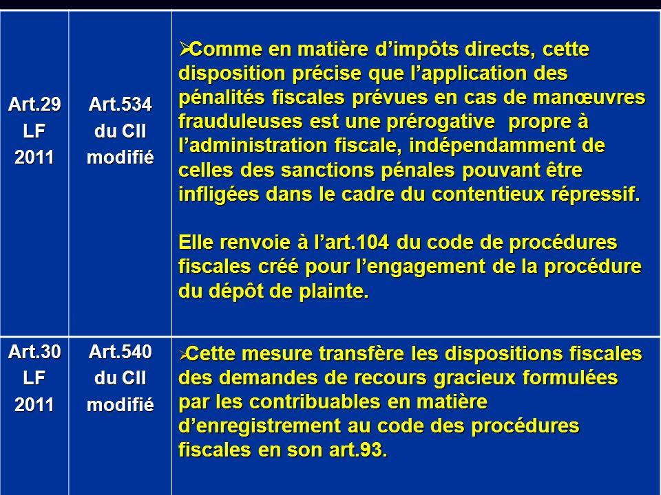 Art.29 LF. 2011. Art.534. du CII. modifié.