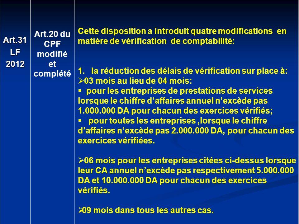 Art.31 LF. 2012. Art.20 du. CPF. modifié. et. complété.
