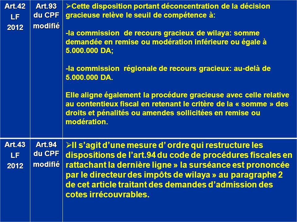 Art.42 LF. 2012. Art.93 du CPF. modifié. Cette disposition portant déconcentration de la décision gracieuse relève le seuil de compétence à:
