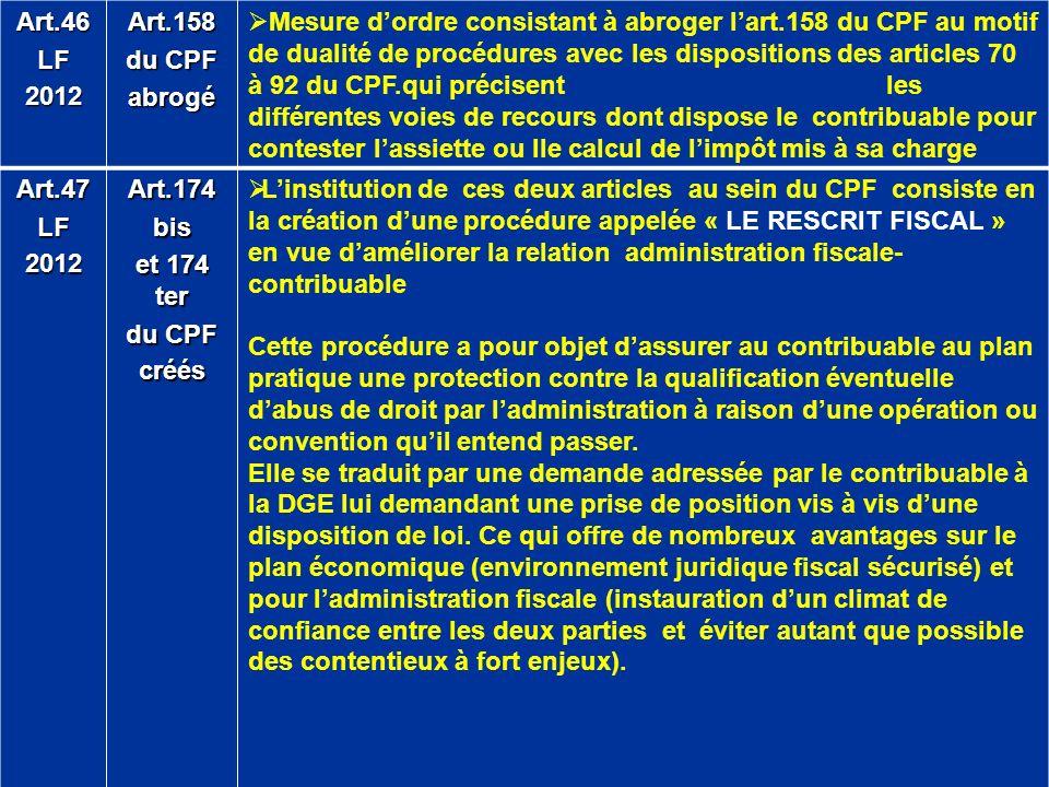 Art.46 LF. 2012. Art.158. du CPF. abrogé.