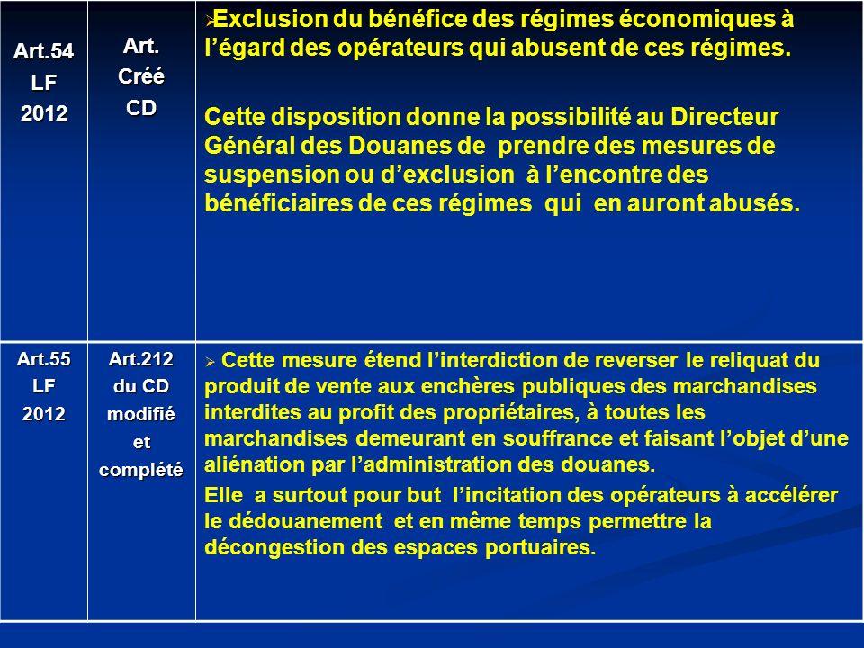 Art.54 LF. 2012. Art. Créé. CD. Exclusion du bénéfice des régimes économiques à l'égard des opérateurs qui abusent de ces régimes.