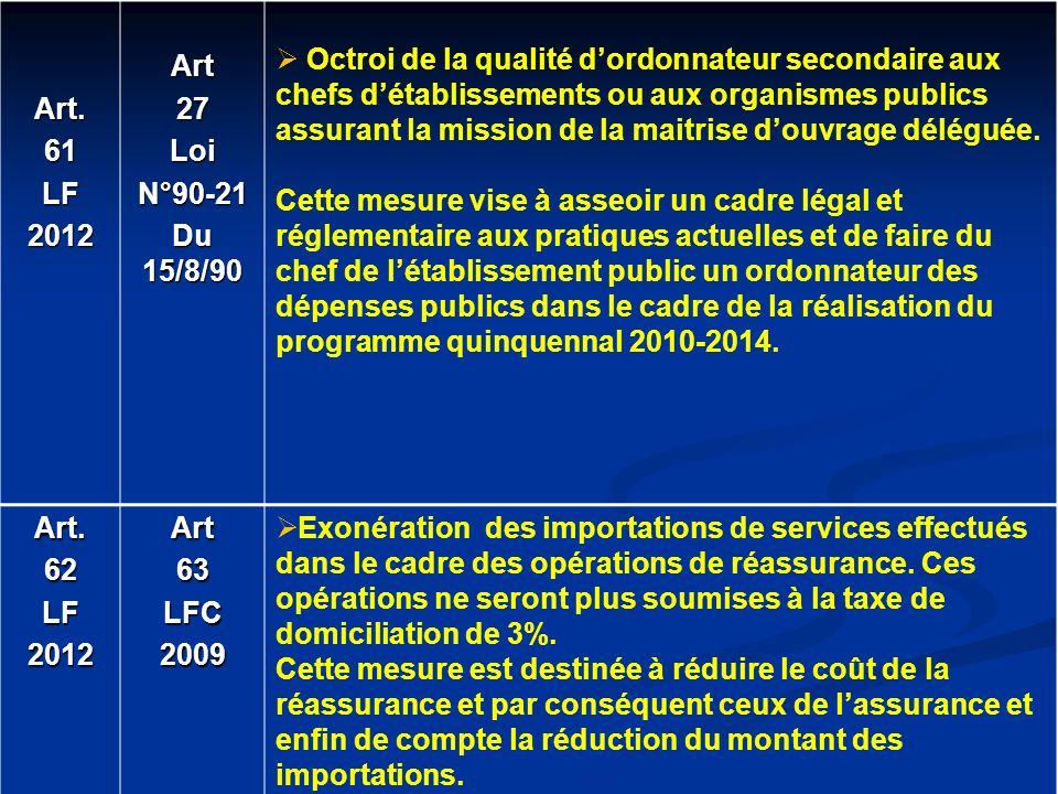 Art. 61. LF. 2012. Art. 27. Loi. N°90-21. Du 15/8/90.