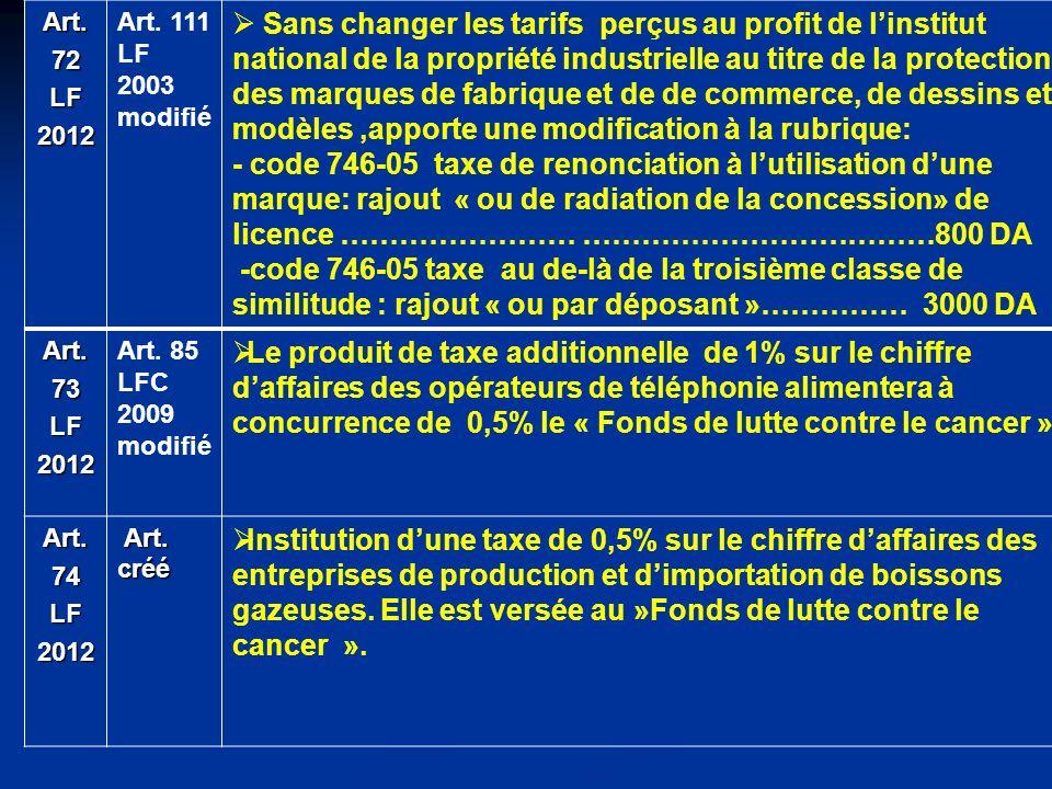 Art. 72. LF. 2012. Art. 111. 2003. modifié.
