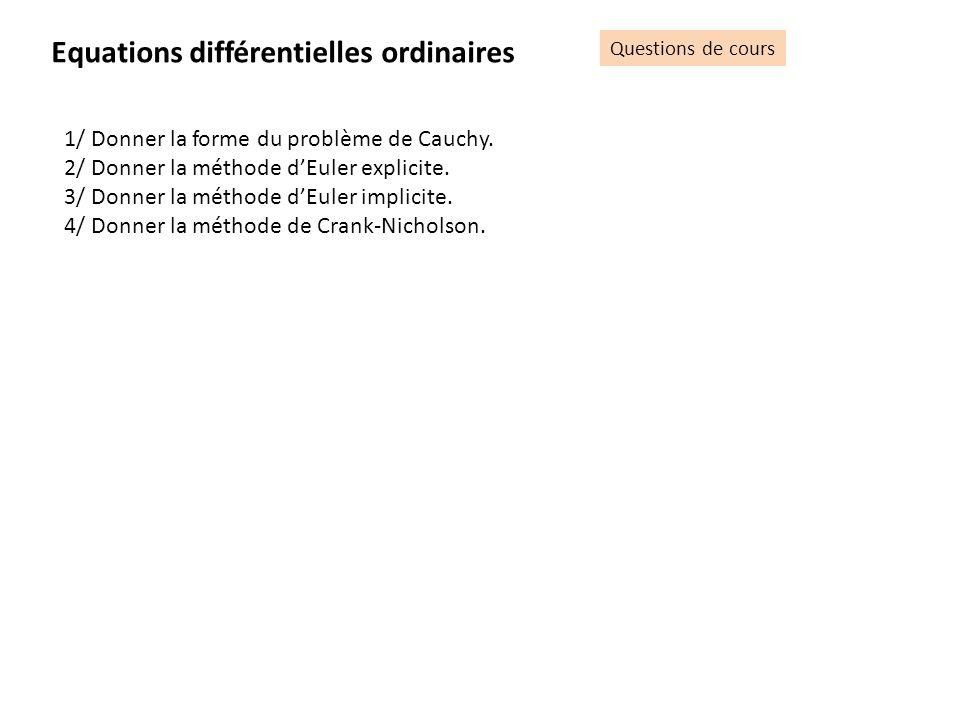 Equations différentielles ordinaires