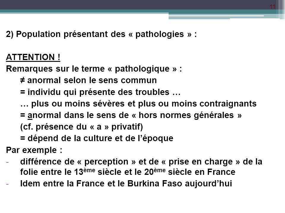 2) Population présentant des « pathologies » :