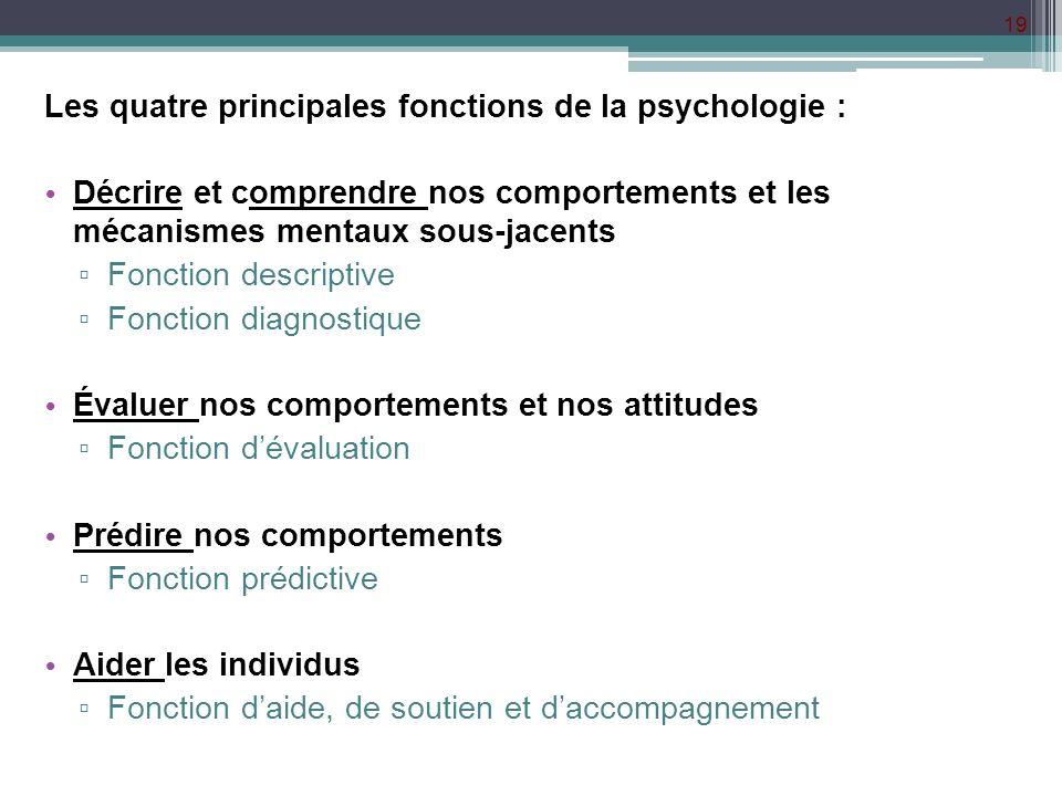 Les quatre principales fonctions de la psychologie :