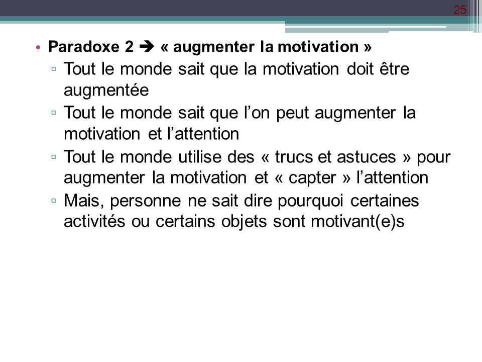 Tout le monde sait que la motivation doit être augmentée
