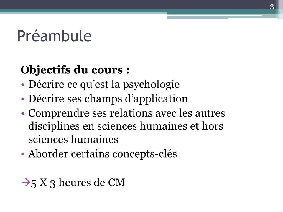 Préambule Objectifs du cours : Décrire ce qu'est la psychologie