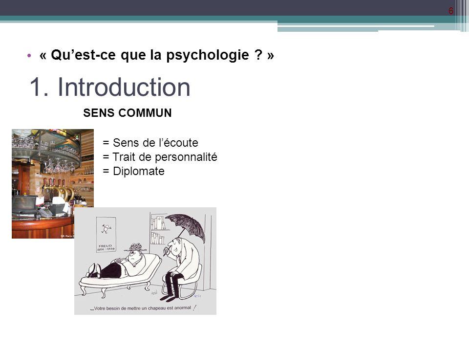 1. Introduction « Qu'est-ce que la psychologie » SENS COMMUN