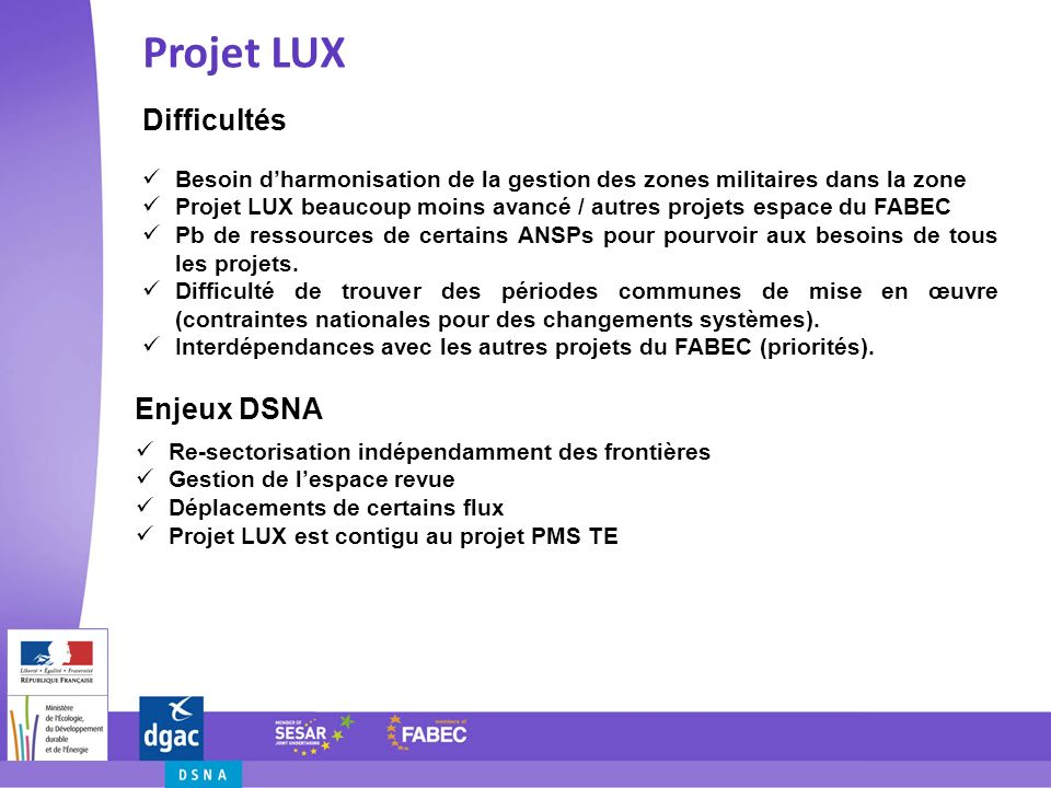 Projet LUX Difficultés Enjeux DSNA