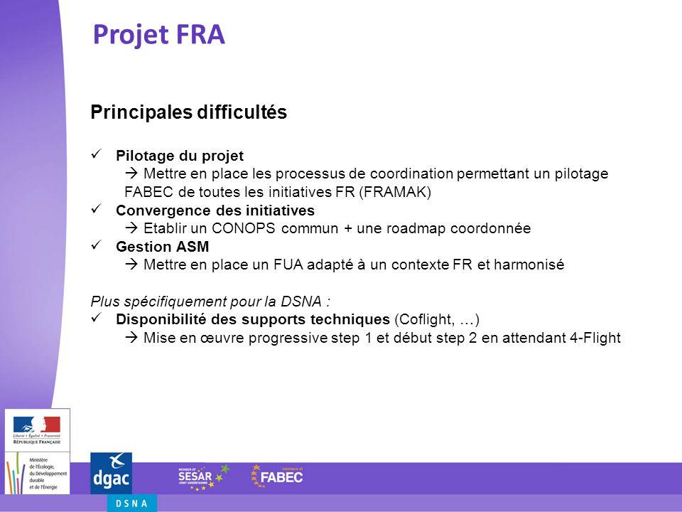 Projet FRA Principales difficultés Pilotage du projet