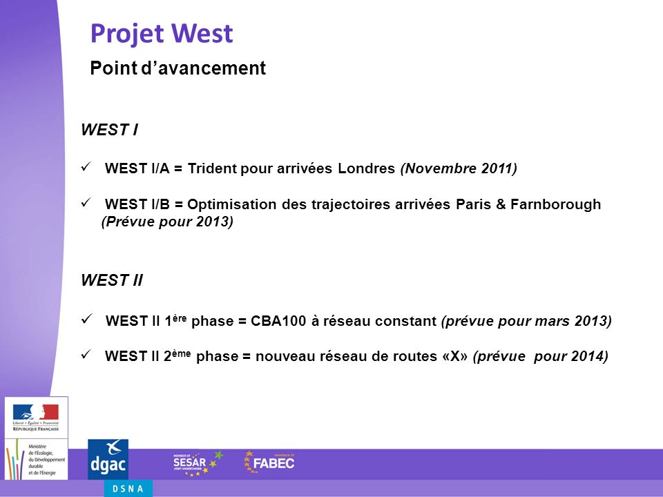 Projet West Point d'avancement WEST I WEST II