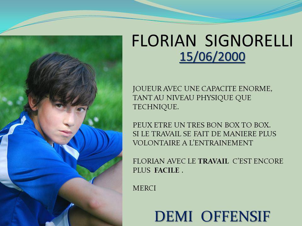 FLORIAN SIGNORELLI DEMI OFFENSIF 15/06/2000