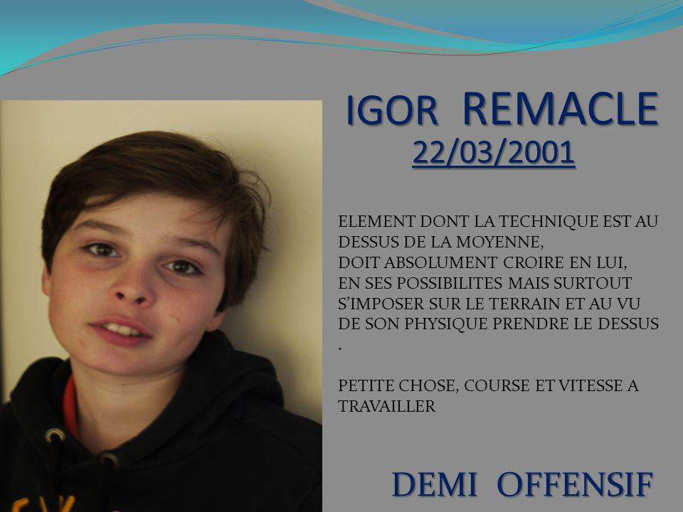 IGOR REMACLE 22/03/2001 DEMI OFFENSIF
