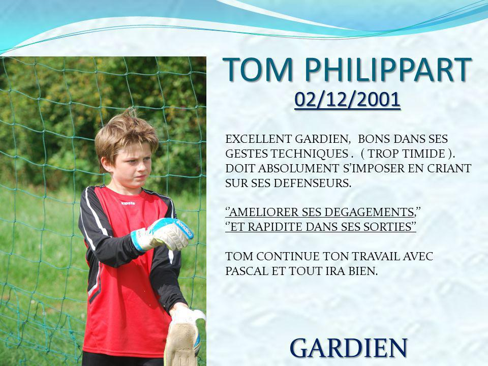 TOM PHILIPPART GARDIEN 02/12/2001 EXCELLENT GARDIEN, BONS DANS SES