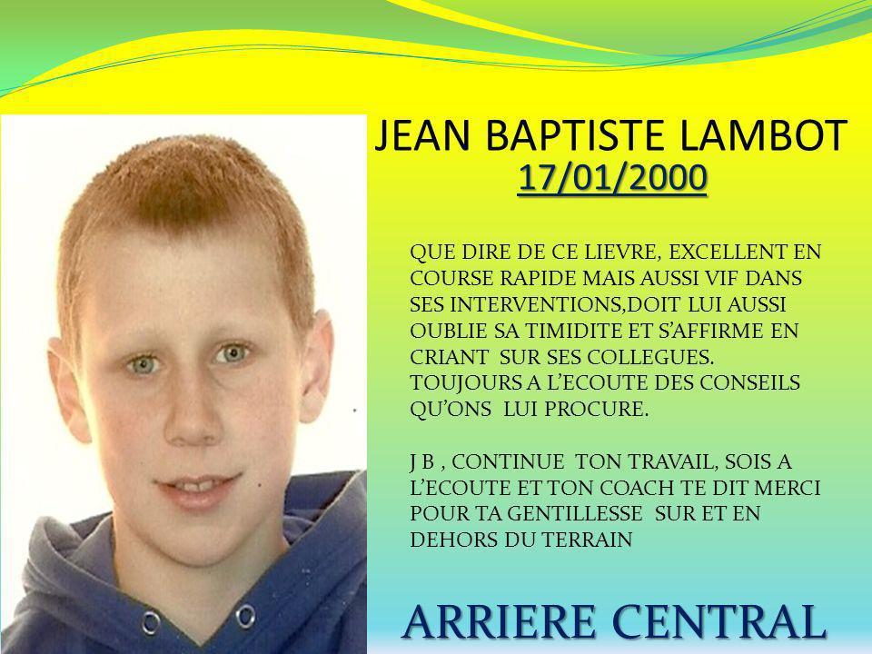 JEAN BAPTISTE LAMBOT ARRIERE CENTRAL 17/01/2000