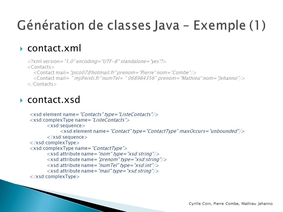 Génération de classes Java – Exemple (1)