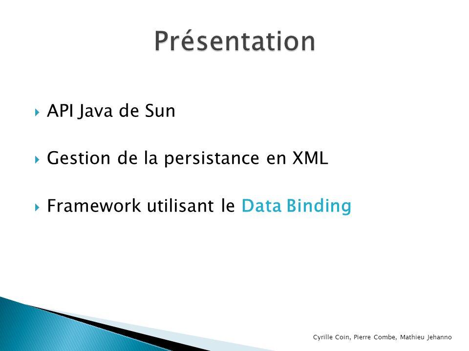 Présentation API Java de Sun Gestion de la persistance en XML