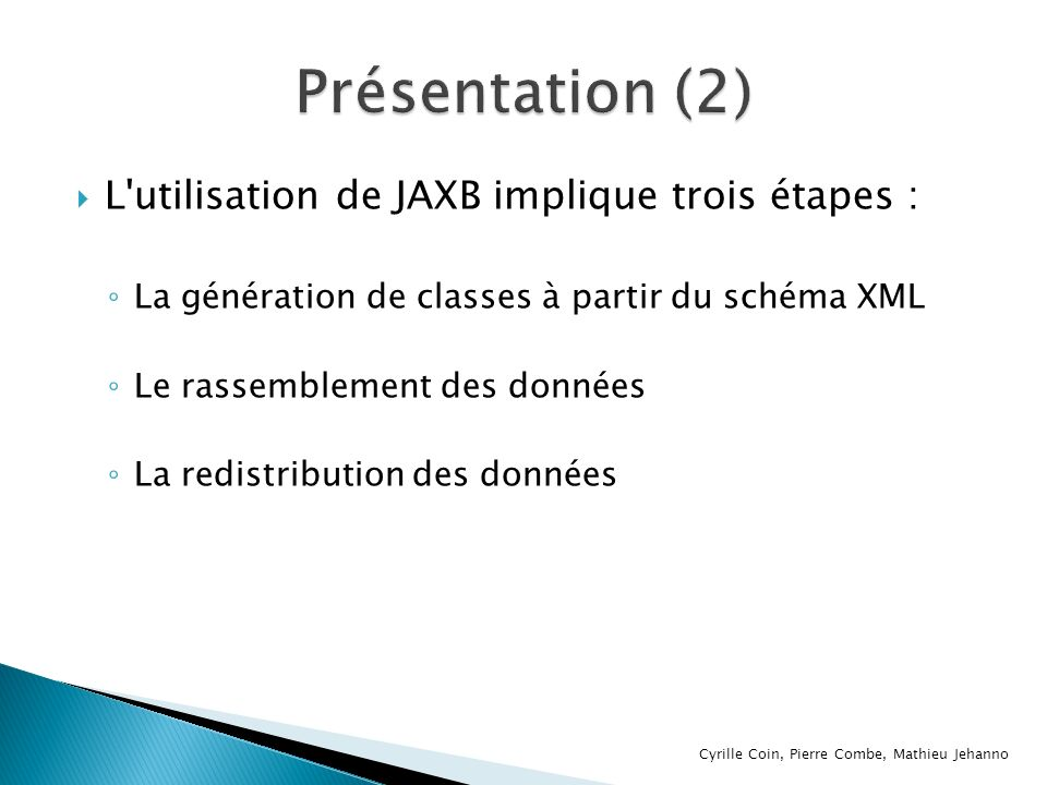 Présentation (2) L utilisation de JAXB implique trois étapes :