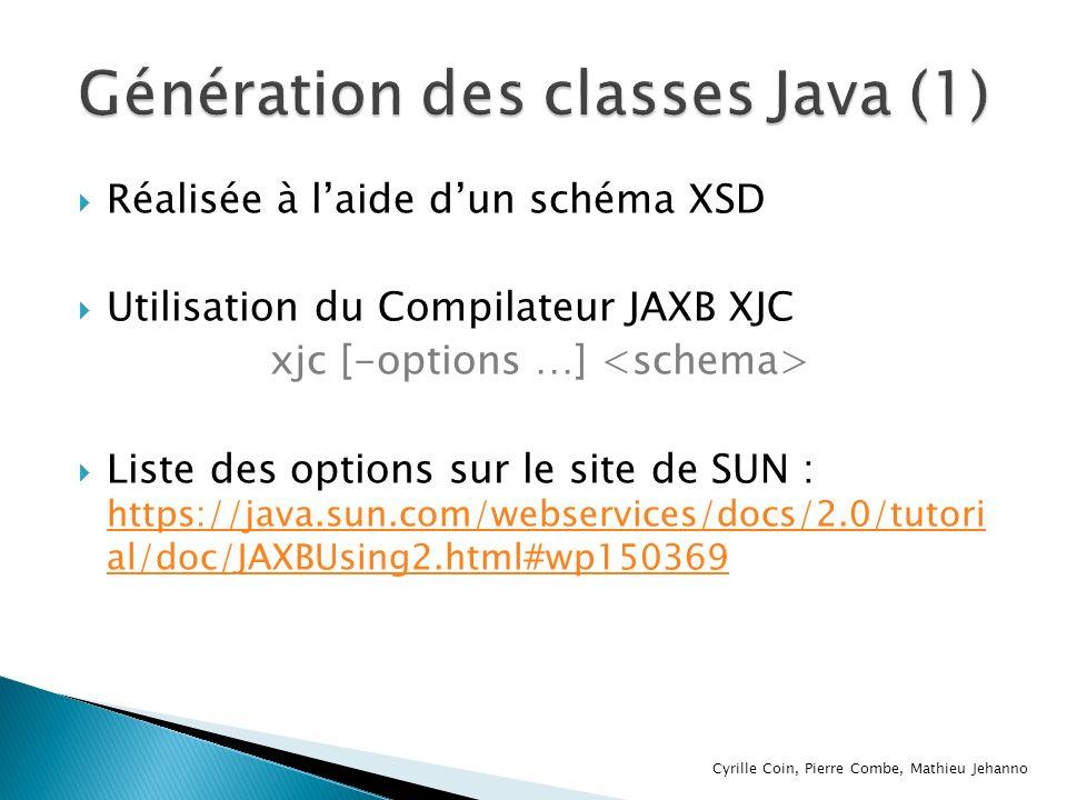 Génération des classes Java (1)