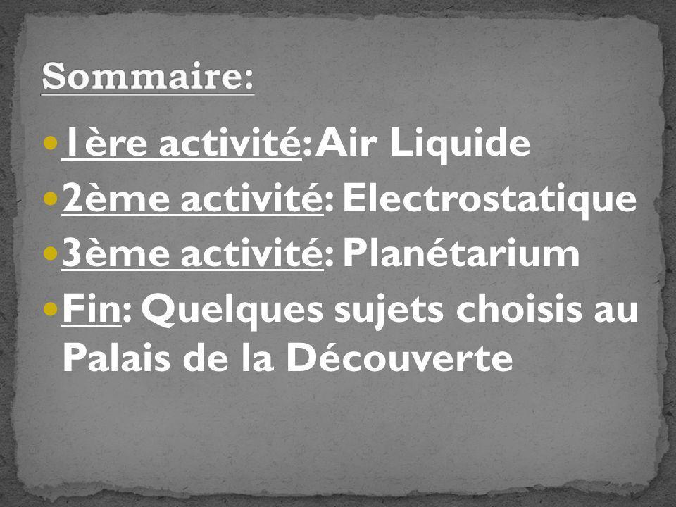 1ère activité: Air Liquide 2ème activité: Electrostatique
