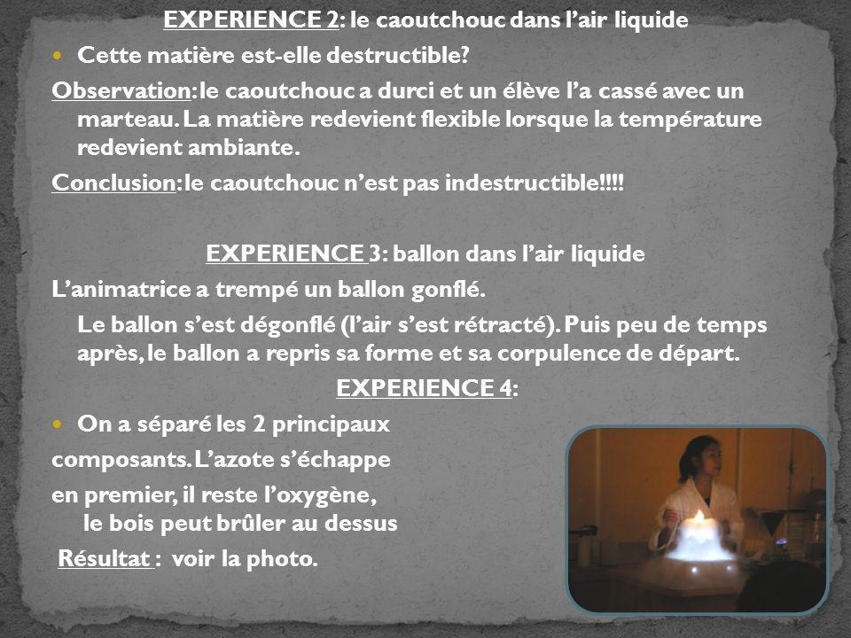 EXPERIENCE 2: le caoutchouc dans l'air liquide