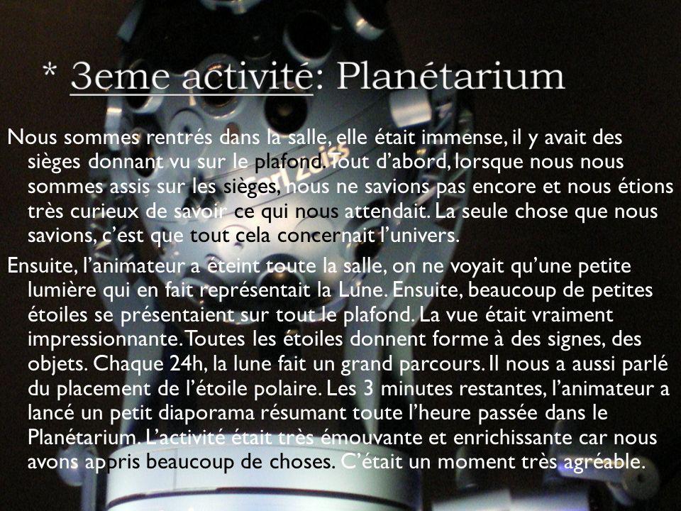 * 3eme activité: Planétarium