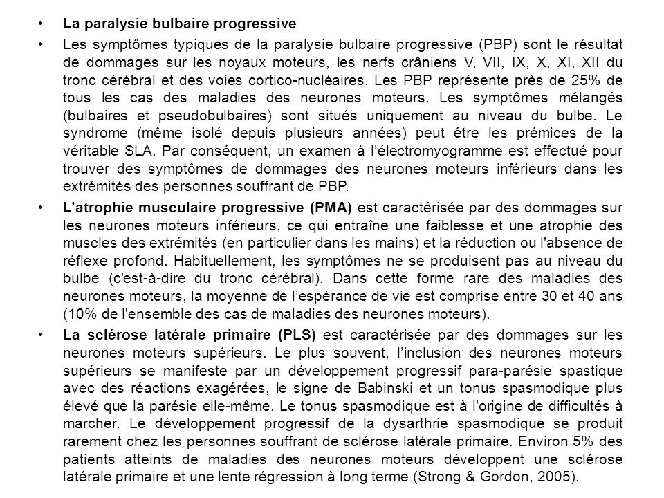 La paralysie bulbaire progressive