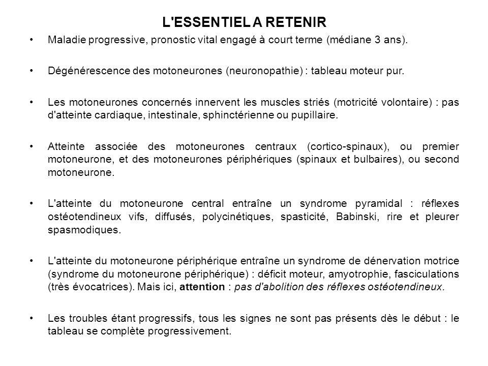 L ESSENTIEL A RETENIR Maladie progressive, pronostic vital engagé à court terme (médiane 3 ans).