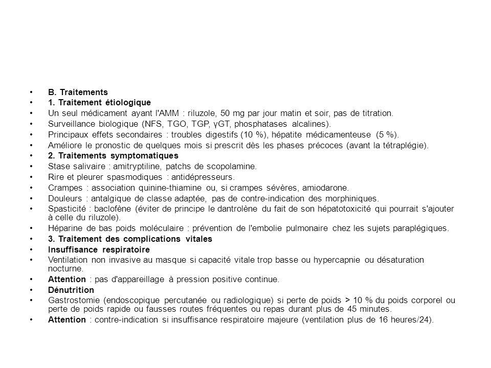 B. Traitements 1. Traitement étiologique. Un seul médicament ayant l AMM : riluzole, 50 mg par jour matin et soir, pas de titration.