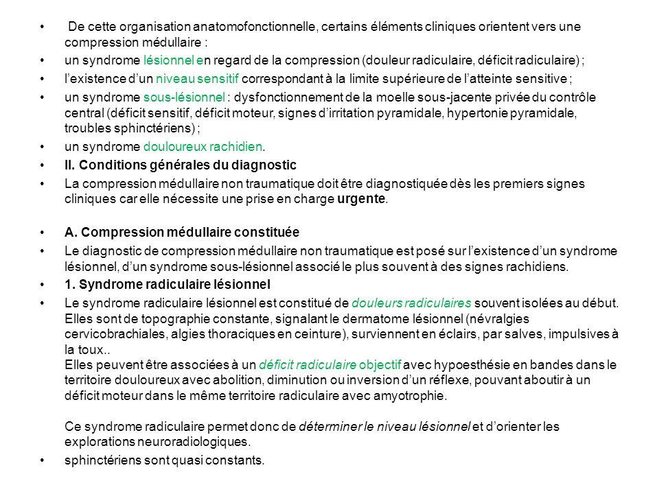 De cette organisation anatomofonctionnelle, certains éléments cliniques orientent vers une compression médullaire :