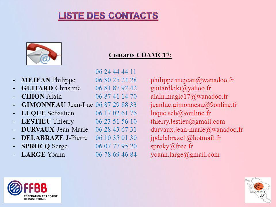 Liste des contacts Contacts CDAMC17: 06 24 44 44 11