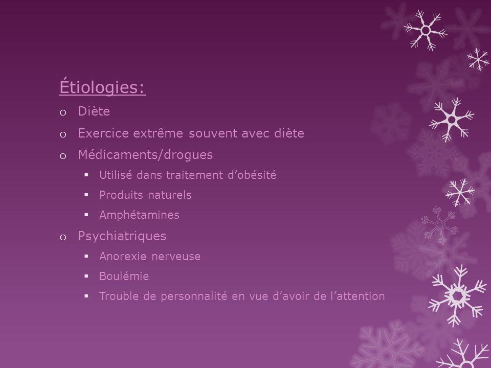 Étiologies: Diète Exercice extrême souvent avec diète