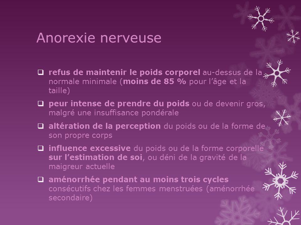Anorexie nerveuse refus de maintenir le poids corporel au-dessus de la normale minimale (moins de 85 % pour l'âge et la taille)
