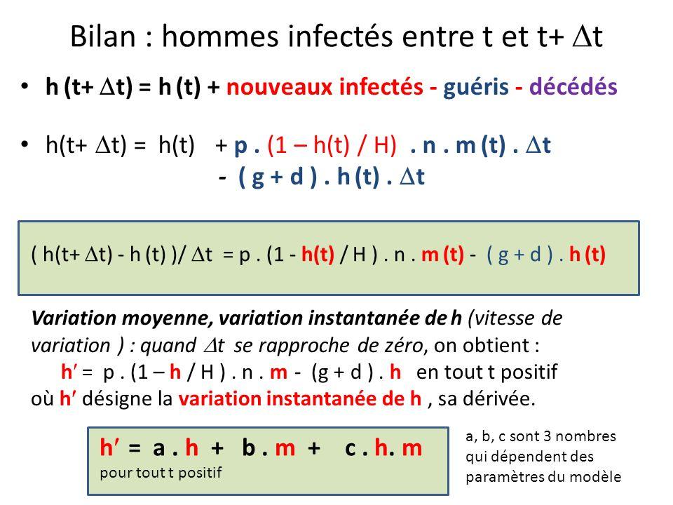 Bilan : hommes infectés entre t et t+ t