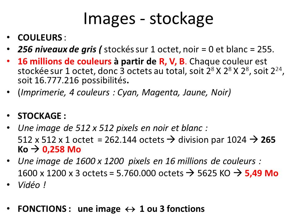 Images - stockage COULEURS :