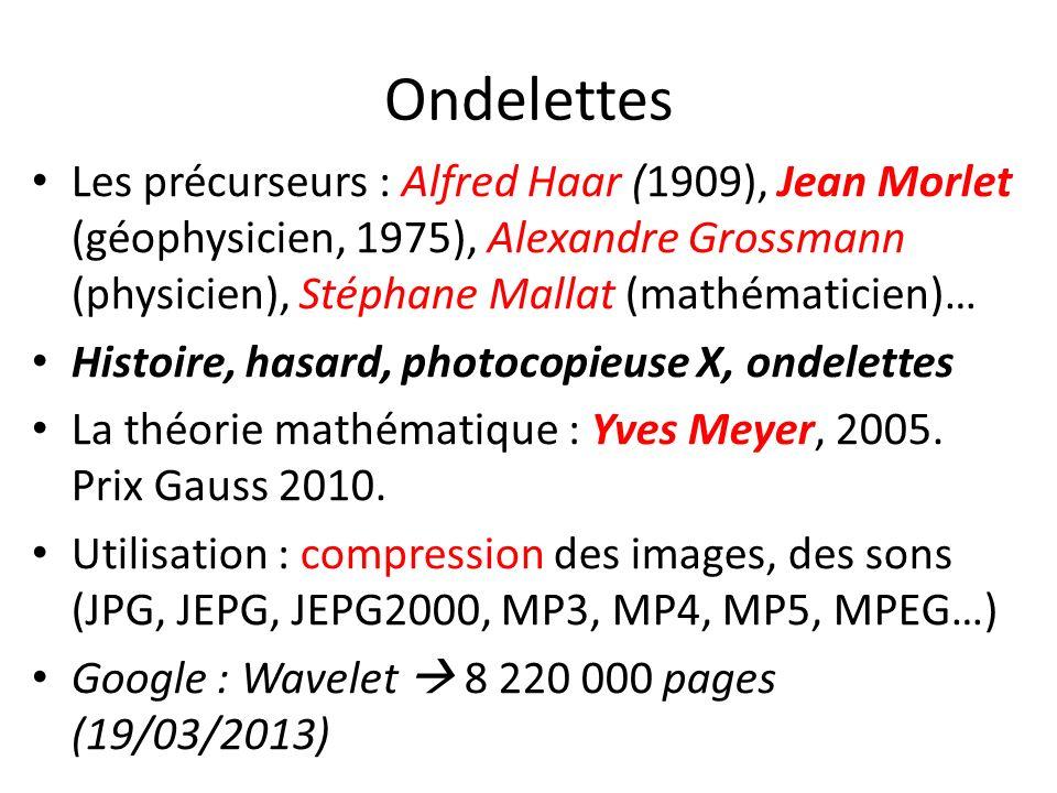 Ondelettes Les précurseurs : Alfred Haar (1909), Jean Morlet (géophysicien, 1975), Alexandre Grossmann (physicien), Stéphane Mallat (mathématicien)…