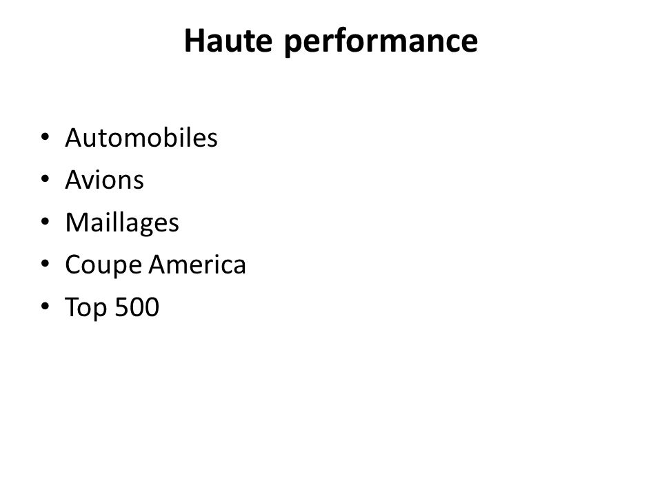 Haute performance Automobiles Avions Maillages Coupe America Top 500